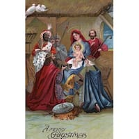 Merry Christmas - Nativity Scene - Vintage Holiday (Art Print - Multiple Sizes)