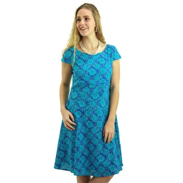Signature Weaves Women's Turquoise Blue Tile Print Casual Dress