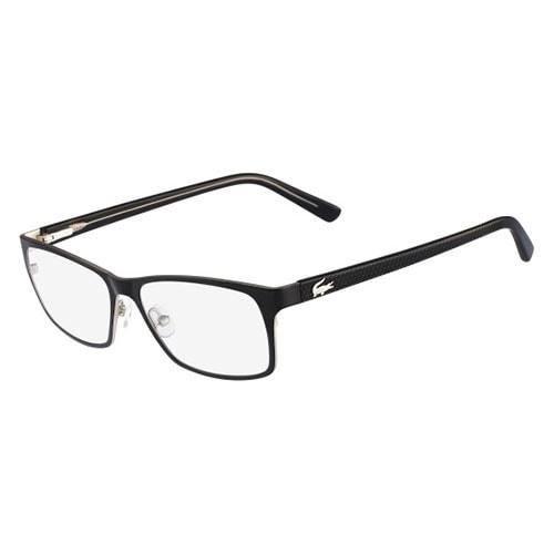 Lacoste Mens Eyeglasses L2172-001 Black Silver Square Full Rim Frames