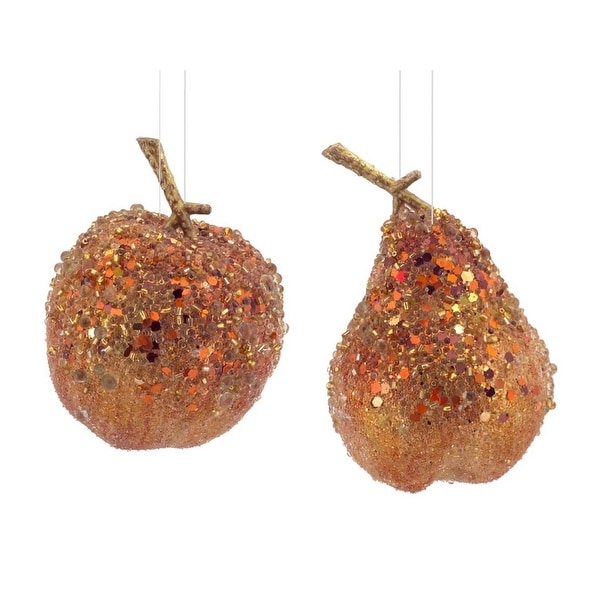 Pack of 12 Whimsical Copper Orange Beaded Apple and Pear Decorative Christmas Ornaments 8.5""