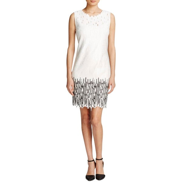 Elie Tahari Womens Ivana Casual Dress Cotton Embroidered