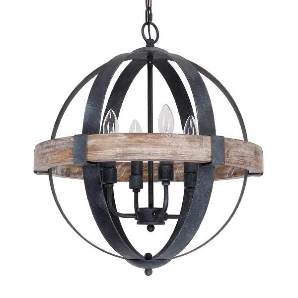 Castello Black 4-Light Wooden Orb Chandelier. Opens flyout.