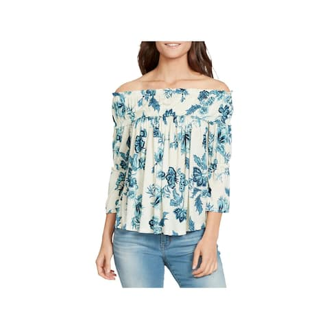 William Rast Womens Lexie Blouse Jersey Off-The-Shoulder