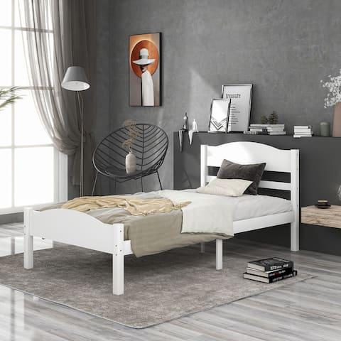 Platform Bed with Horizontal Strip Headboard & Footboard, Twin, White