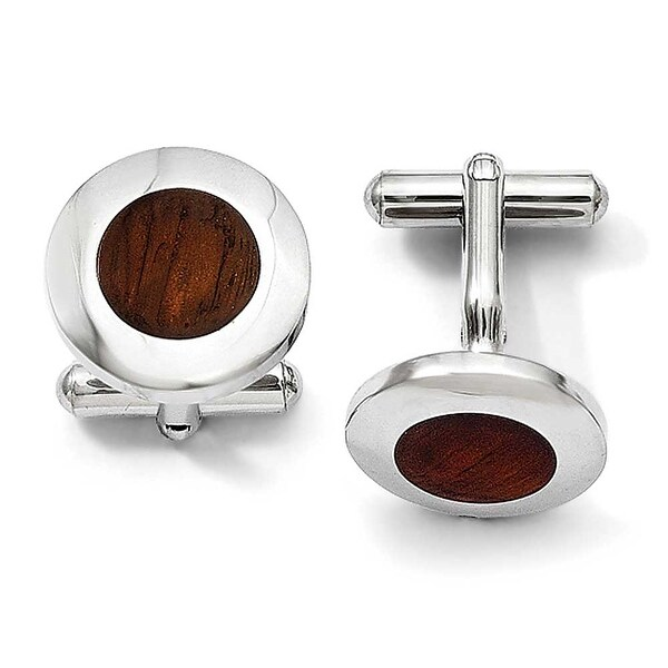 Stainless Steel Wood Inlay Round Cuff Links