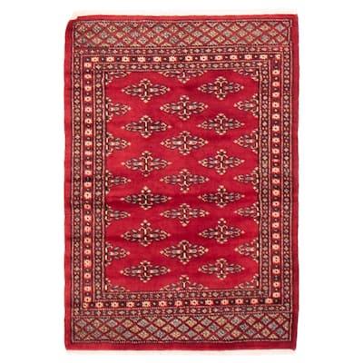 ECARPETGALLERY Hand-knotted Finest Peshawar Bokhara Dark Red Wool Rug - 2'6 x 3'9
