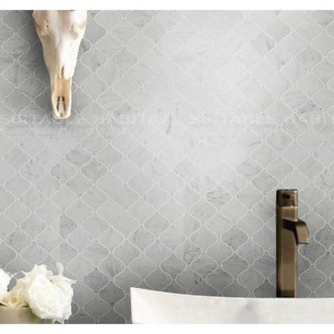 "Carrara Marble Mosaic Decorative Backsplash Tile, 12""x 12""x 0.38""/pc"