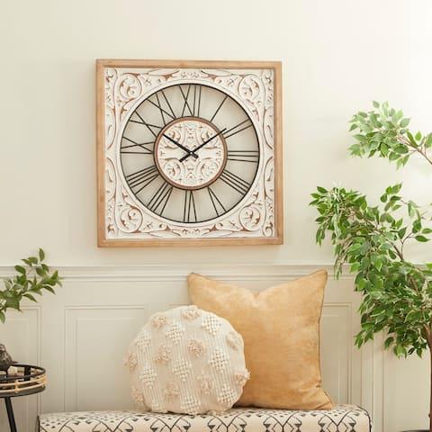 White Wood Farmhouse Wall Clock 29 x 29 x 2 - 29 x 2 x 29