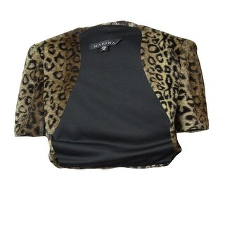 Marina Women's Cap Sleeve Animal Print Faux Fur Bolero Jacket