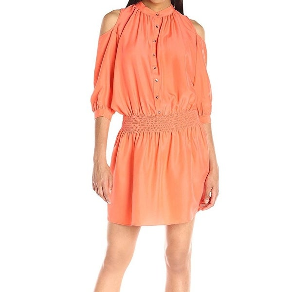 Nicole Miller New Orange Womens Size Small S Cold Shoulder Shirt Dress