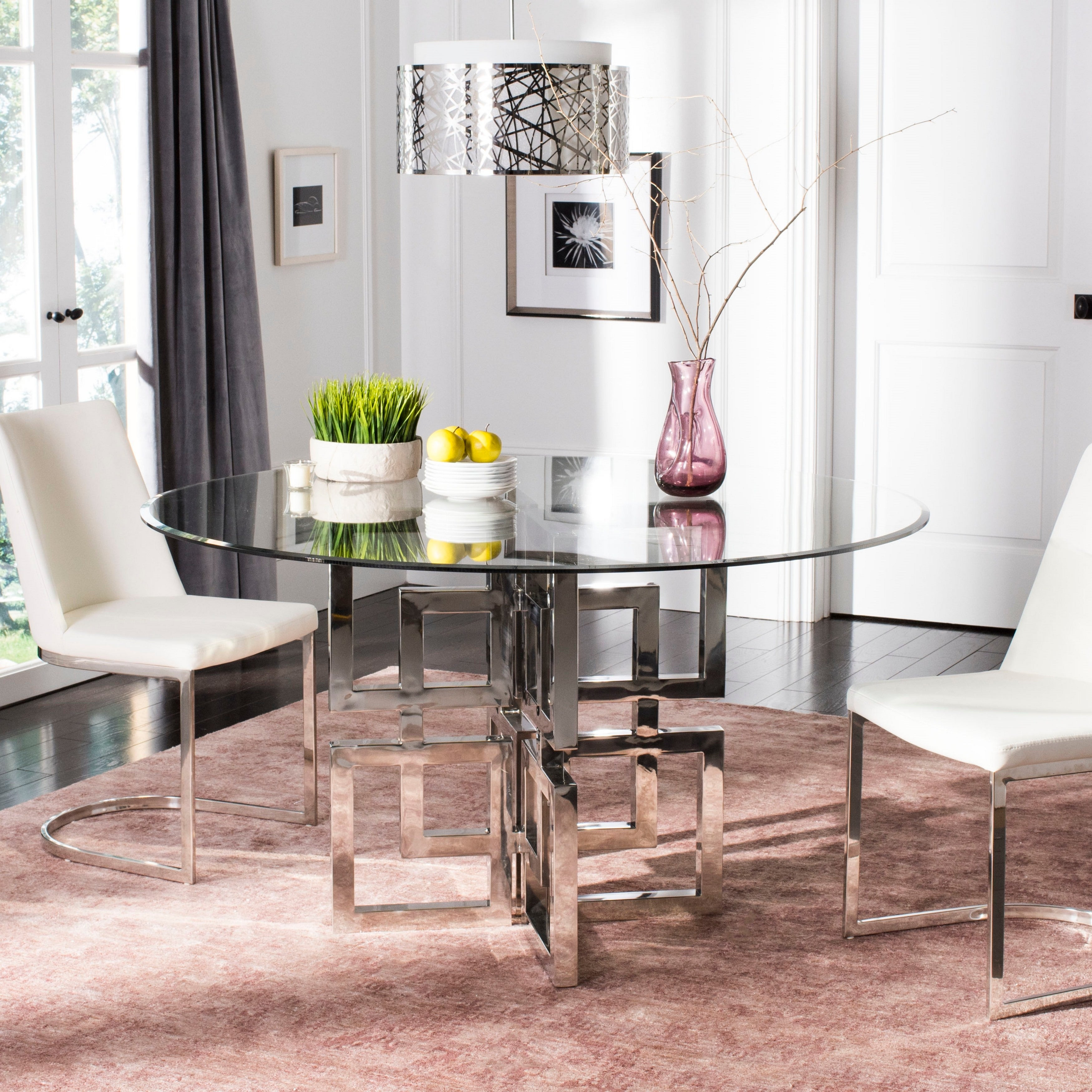 Safavieh Couture Harlan 42 Inch Glass Top Round Dining Table 42 W X 42 L X 40 H Overstock 21924039