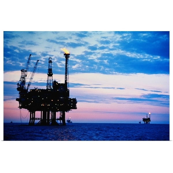 """""""Oil production platforms at dusk, Forties Field, North Sea"""" Poster Print"""