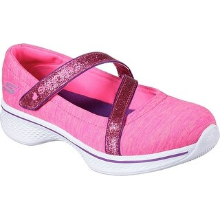 Skechers Girls' GOwalk 4 Jersey Gems Mary Jane Sneaker,Black/Hot Pink
