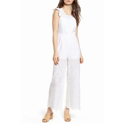 Leith White Women's Size Large L Eyelet Knit Ruffle Trim Jumpsuit