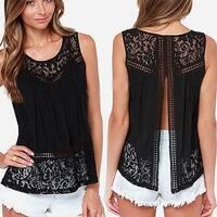 Womens Summer Sexy Hollow Crochet Lace Back Slit Patchwork Base Shirt Tank Top