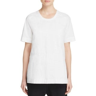 Pure DKNY Womens Casual Top Side Slit Short Sleeve