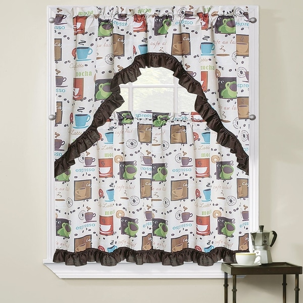 Cappuccino Coffee Cup Printed Kitchen Curtain Tiers & Swag Set, 56x36 & 28x36