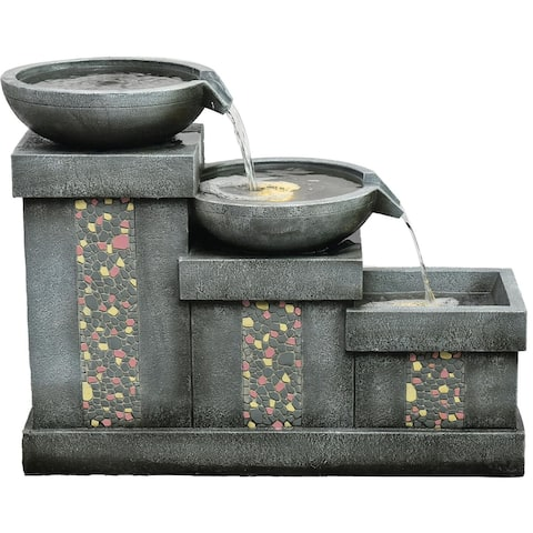 Hanover 26-In. 3-Tier Mosaic Tile Indoor or Outdoor Garden Fountain with LED Lights for Patio, Deck, Porch