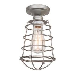 Design House 519686 Ajax 1 Light Dimmable Semi-Flush Ceiling Fixture in Galvanized Finish