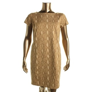 Lauren Ralph Lauren Womens Snake Print Short Sleeves Casual Dress