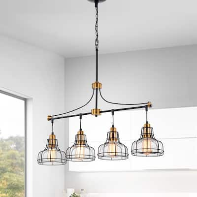 Black and Antique Gold 4-Light Linear Kitchen Island Lighting