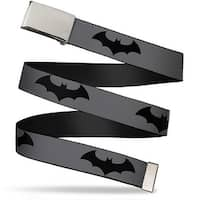 Blank Chrome Bo Buckle Retro Bat Logo Gray Black Webbing Web Belt