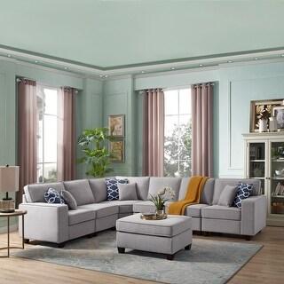 Link to Casanova 7-piece Modular Light Gray Sectional Sofa - Grey Similar Items in Living Room Furniture