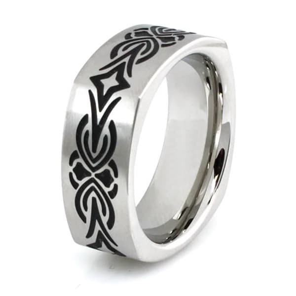 Squared Stainless Steel Ring w/ Tribal Design