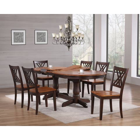 "Iconic Furniture 42""x66""x78""x90"" Oval Whiskey Mocha Double X Back 7-Piece Dining Set"