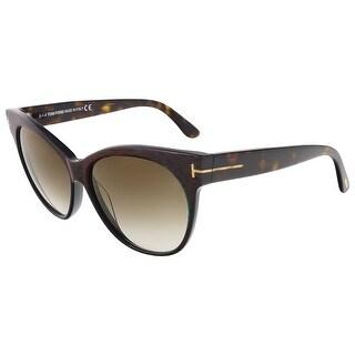 Tom Ford FT0330/S 98G Saskia Green/Red Stripe Cateye Sunglasses