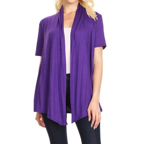 Women's Solid Color Basic Short Sleeve Sweater Cardigan