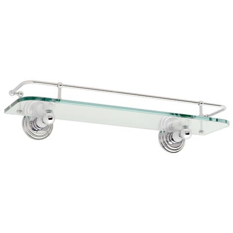 "Ginger 1135T-18 Chelsea 18"" Glass Shelf with Rail - Polished Chrome"