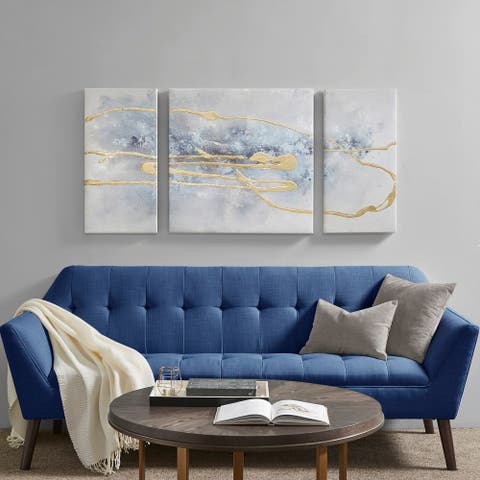 Madison Park Cosmo Blue/ Gold 3 Piece Canvas Set Hand Embellished Textured Glitter And Gold Foil