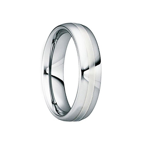 DIOCLETIANUS Polished Tungsten Wedding Ring with 18K White Gold Inlay by Crown Ring - 8mm