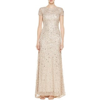 Adrianna Papell Womens Petites Evening Dress Sequined Cap Sleeve