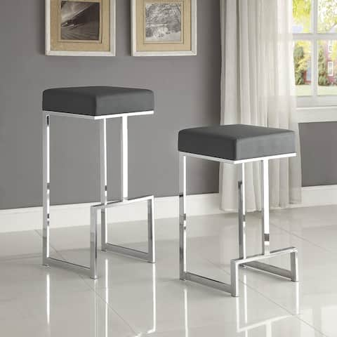 Contemporary Clean Design Chrome with Grey or Black Seat Stool