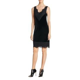 Calvin Klein Womens Slip Dress Faux Velvet Lace