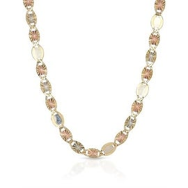 MCS JEWELRY INC 10 KARAT THREE TONE, YELLOW GOLD WHITE GOLD ROSE GOLD NECKLACE 3MM