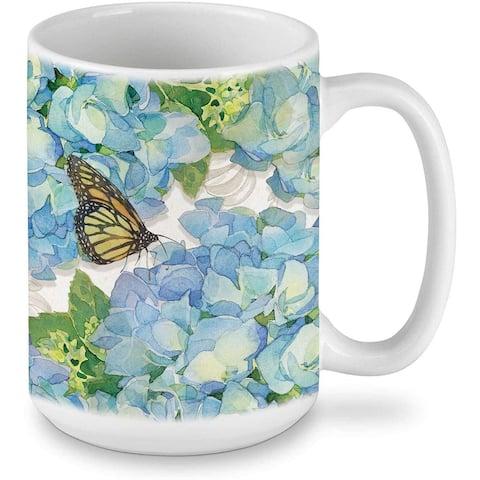 Highland Home Garden Hydrangea Ceramic 15 ounce Mug