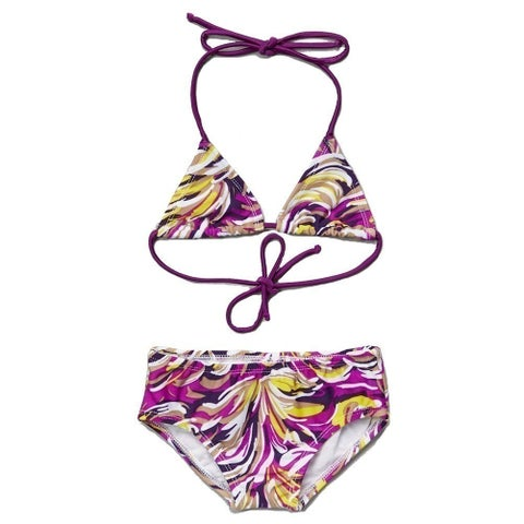 Little Girls Purple Yellow Molly Halter Triangle 2 Pc Bikini Swimsuit