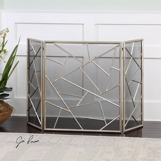 """51"""" Modern Silver Leaf Decorative Abstract Fireplace Screen - N/A"""