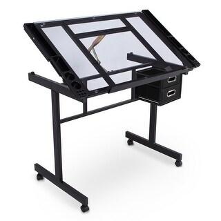 BELLEZE Adjustable Art Drafting Work Station Table Desk with Storage Drawers, Black/Clear Glass