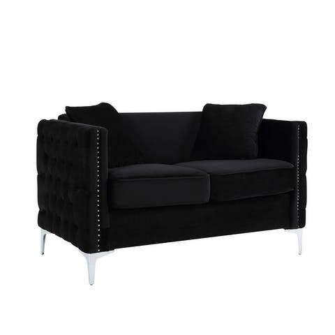 Bayberry Contemporary Velvet Fabric Loveseat Couch with 2 Pillows