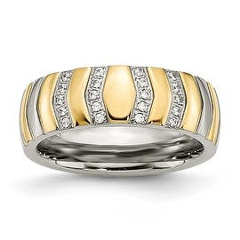 Chisel Titanium Polished Yellow IP-plated CZs 7mm Ring|https://ak1.ostkcdn.com/images/products/is/images/direct/49bb3a5cdd5f45c225b3491c3f34ed746cb9a379/Chisel-Titanium-Polished-Yellow-IP-plated-CZs-7mm-Ring.jpg?impolicy=medium