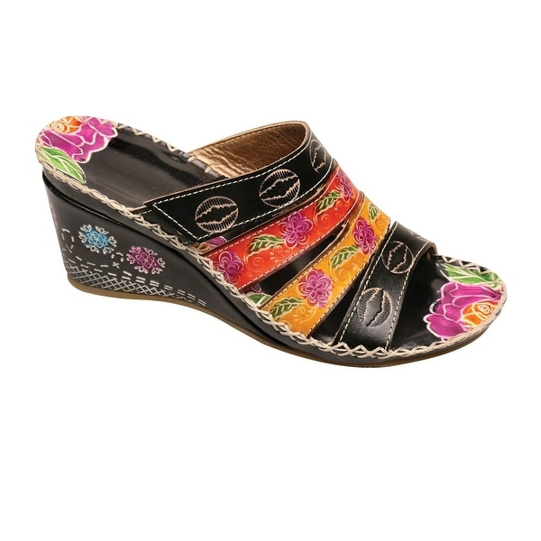 Women's Aruba Wedge Sandals - Floral on Black Leather Mules Open Toe