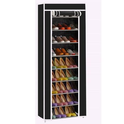 10-Layers 9 Lattices Non-woven Fabric Shoe Rack Black