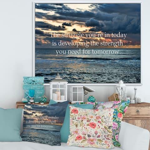 Designart 'Ocean and Inspirational Quote' Nautical & Coastal Framed Canvas Wall Art Print
