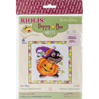 """Happy Halloween Counted Cross Stitch Kit-6""""X6"""" 10 Count"""