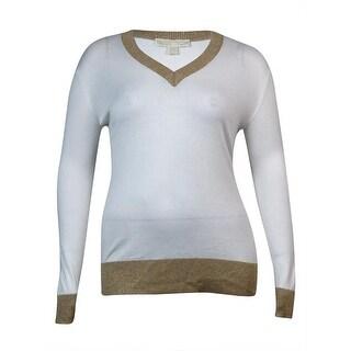 MICHAEL Michael Kors Women's V-Neckline Metallic Trim Sweater (L, Cream/Gold) - l