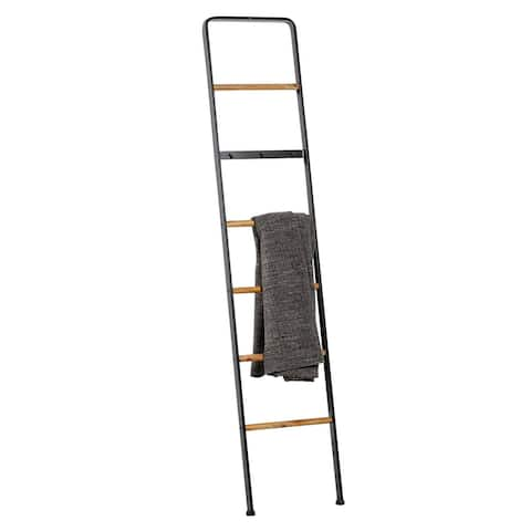 "Tall Black Metal Ladder With Wood Bars plus 3-Hook Bar 15"" X 72"" - 15 x 1 x 72"